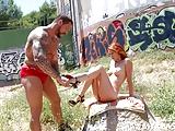 Franse roodharige meisje in brand en de gladiator!